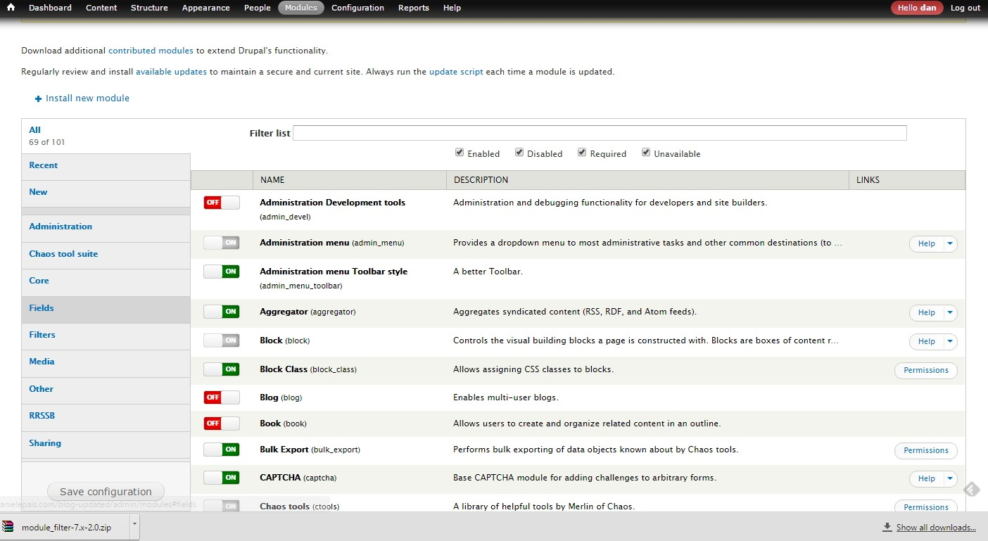 view of the modules using the filter module for drupal