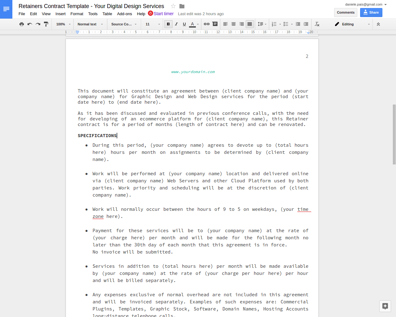 Free to Download Retainers Contract Template – dp: a blog by ...