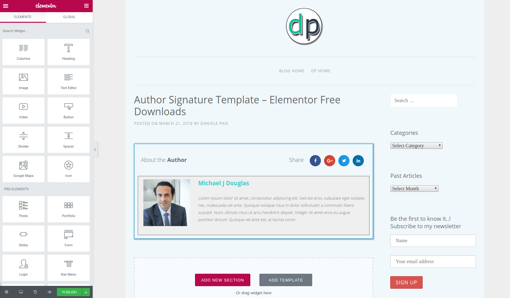 Author signature elementor free downloads digital design blog section templates author signature maxwellsz